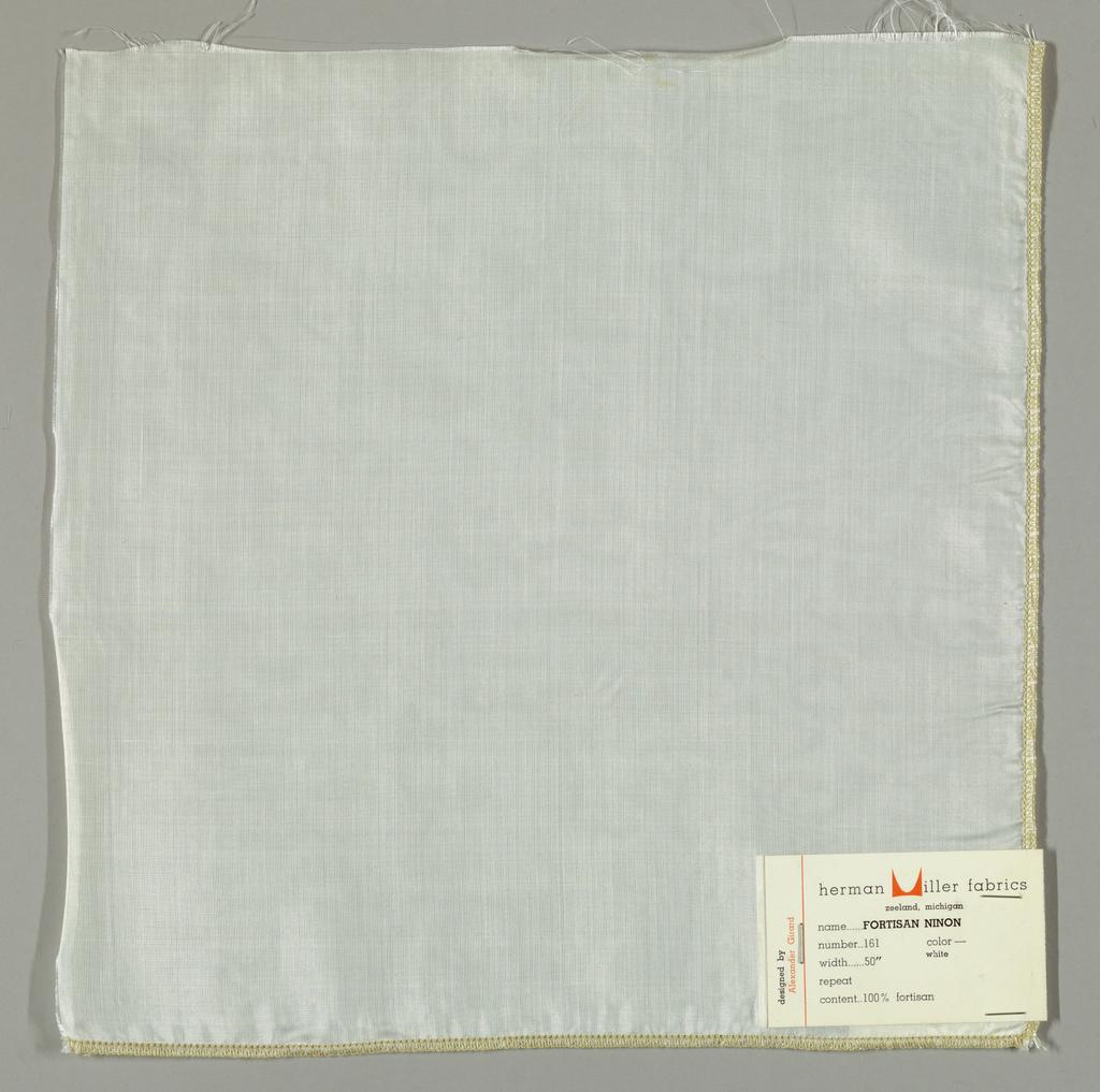 Sheer white plain weave.