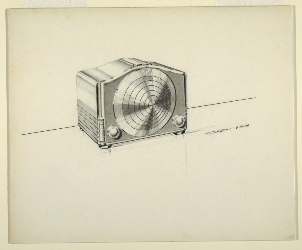 Design for a radio with a streamlined silhouette and two dials on the face, at the bottom below concentric circles with the number 90 at top