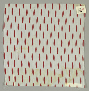 White sheer cotton plain weave printed with red ovals. Number 605.