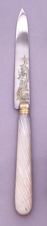 One of twelve fruit knives with mother-of-pearl handles and engraved and gilt decoration on blades.