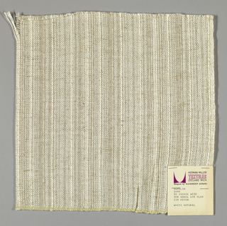 Plain weave in off-white and light brown. Light brown yarns give a subtle vertical stripe effect. Warp is comprised of off-white and light brown yarns of different weights. Weft is comprised of off-weight yarns of the same weight.