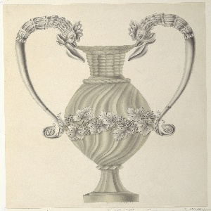 Ovoidal carved glass urn, with a circular base and tall neck, decorated with spiral fluting. Silver handles terminating in roosters' heads, and attached at their bases to a band of grapevine encircling the body of the object. Signed pen and black ink, lower right: J. Seethaler.