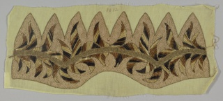 Panel embroidered to shape for a hat. Cream ground with flame-like pattern in gradated shades of brown chenille and couched cord soutache in light brown, couched gold metallic thread accents.