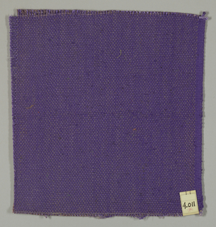 Plain weave in violet with paired warps. Paired warps have a mauve yarn with a slight sheen.