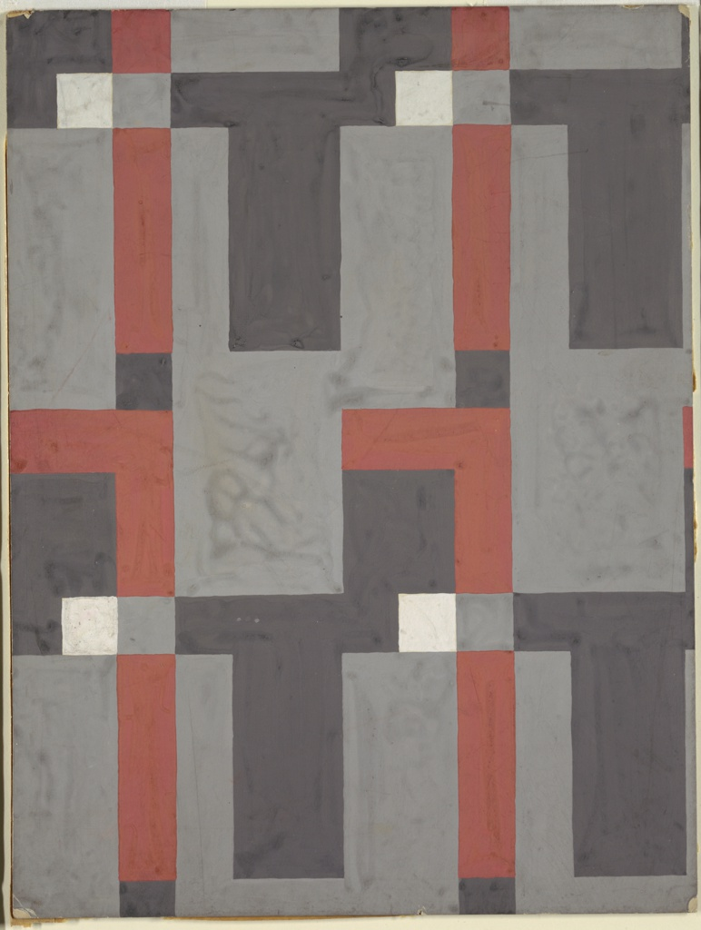 Textile design with all-over, repeat pattern of vertical rectangles and squares in black, white, gray, and rust.