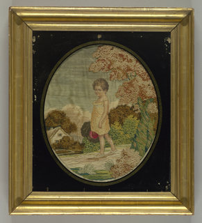 """Picture of a small boy carrying a hat in a rural landscape. After an engraving """"Father's Joy"""" published in 1815 by T. Palser, Westminster Bridge. Glazed and framed with eglomisé glass."""