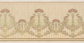 Alternating large and small foliate medallions enclosing anthemion.  Smaller medallions link foliate swags.  Tan vertical stripes appear till mid paper.  Brown, green, yellow and tan stripes on bottom.  Printed in green, tan, yellow, brown and white on textured simulated background.