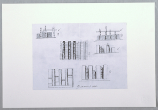 Six designs depicted. Upper left: a post and lintel structure with three posts or trees and a lintel across two of them, containing three large rectangular forms or boxes, an arrow points to the structure from the right and the number 1 encircled; upper right: post and lintel structure with four trees as posts, large rectangular boxes flank each post, an arrow points at it from the right next to the number 2 encircled; center right: three trees among a group of rectangular boxes of various sizes, an arrow points at it from the right; center: five trees, two of which are only partially finished, between these are shelving structures as tall as the trees, the number 3 encircled on the right; lower left: three posts flanked by four vertical areas with two horizontal lines each; lower right: three trees of varying heights each flanked by taller rectangular boxes, the number 4 encircled on the right.