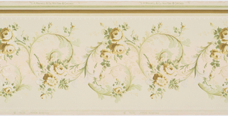 Rinceau of acanthus scrolls and rose floral motif in center, strung bead at top and bottom. Printed in greens and browns with liquid mica on a pale green background.