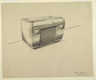 Design for a radio with a streamlined silhouette and two dials on the face, at the top.