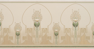 Alternating large and small stylized tulips enclosed by art-nouveau medalions.  Alternating coils. Green stripe on top and bottom. Printed in green, white, tan, and metalic gold.