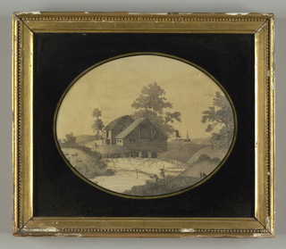 Oval picture within a rectangular frame of a mill on a mill pond with a town in the background and fishermen in front, in black on cream foundation.