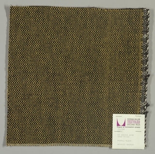 Coarse plain weave with taupe warp and black weft.