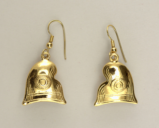 Pair of earrings in the shapes of Phrygian caps.