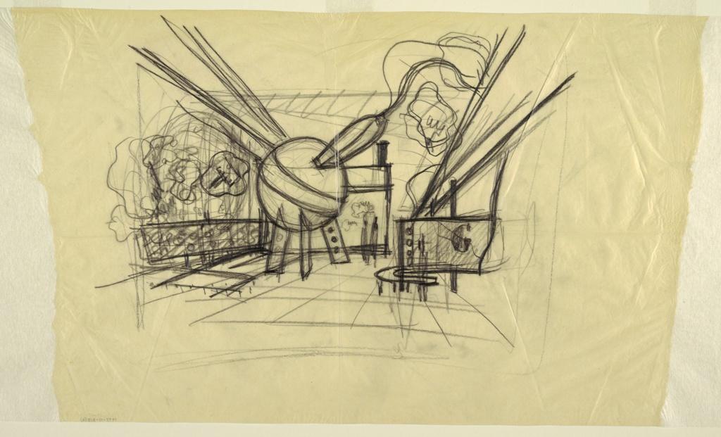"Drawing, Design for Gilette Exhibit, ""Through the Medicine Chest,"" New York World's Fair 1939–40"
