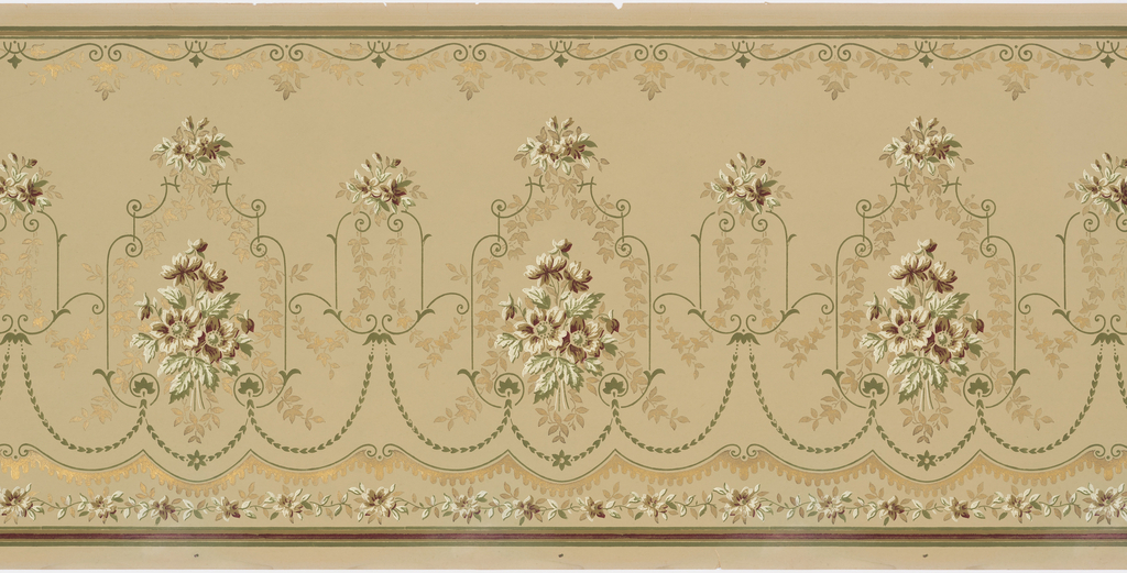 Floral bouquet within a scrolling framework; foliate garlands connecting medallions; scrolls and foliate swags across top. Printed in green, burgundy, olive green, and metallic gold on an olive green background