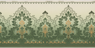 Alternating large and small foliate medallions connected by acanthus scrolls with lacey scrolls above medallions; bellflowers across top; printed in green and metallic gold; background shades deep green to light green