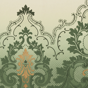 Alternating large and small foliate medallions connected by acanthus scrolls with lacey scrolls above medallions; bellflowers across top; printed in green and metallic gold; background shades from light green to deep green at bottom.