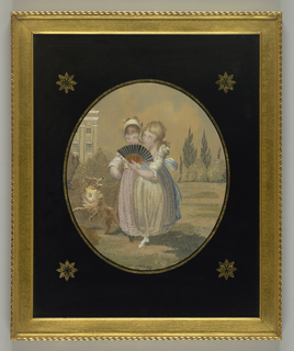 Two children, one holding a fan, with a dog in front of a Georgian building. Framed with an eglomisé mat and a gold frame.