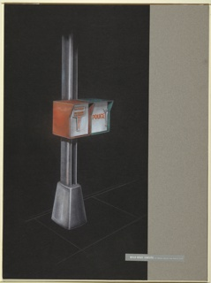 Drawing, Design for New York City Streelight Pole with Emergency Call Boxes