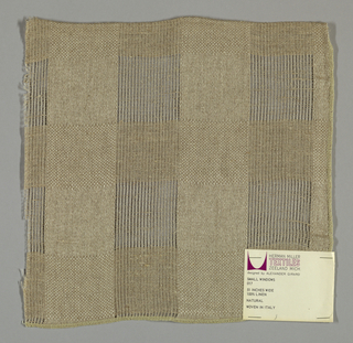 Plain and gauze weave in light brown. Intervals of plain and gauze weave form small squares.