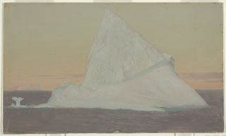 """An iceberg with a pronounced point emerges from dark water. Shown against a yellow-green and pink sky. At lower left, an """"ice flower"""" resembling the tail of a marine mammal is visible. On horizon, at left, a second iceberg is shown."""