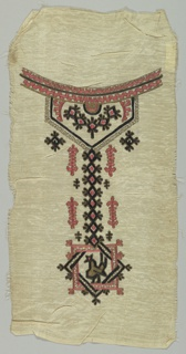 Panel for a dress front. Bib style neckline, inspired by Moroccan ethnic costume, with geometric and bird motif in coral, black and gold metallic chain stitched, on cream gauze ground.