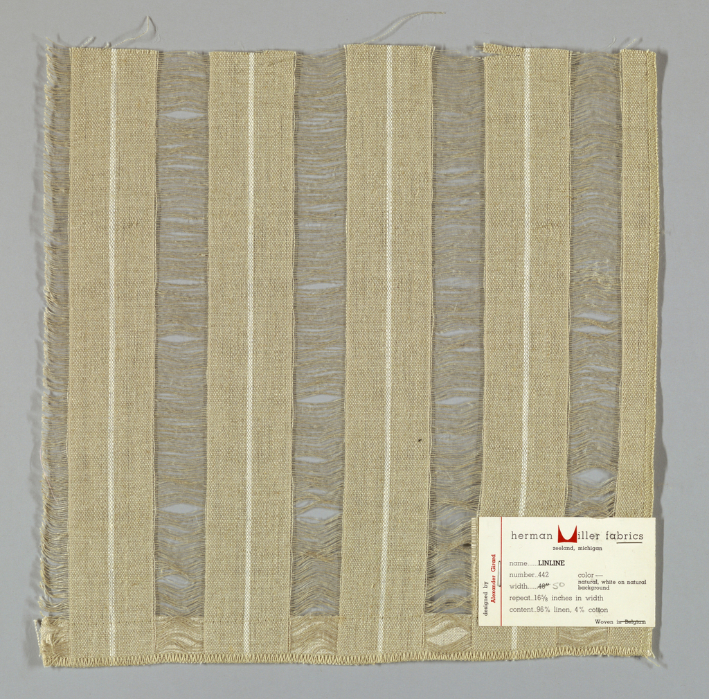 Wide vertical bands of plain weave in light brown with a thin white stripe are joined together by long weft floats in light brown. Number 442.
