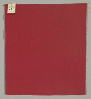 Warp-faced plain weave in red. Number 231.