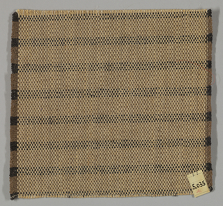 Horizontally striped plain weave with paired warps in shades of brown. Paired warps are beige and light brown. Weft is comprised of heavy two-ply yarns in brown and dark brown.
