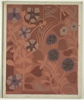Drawing, Textile Design: Floral Motif, Rust