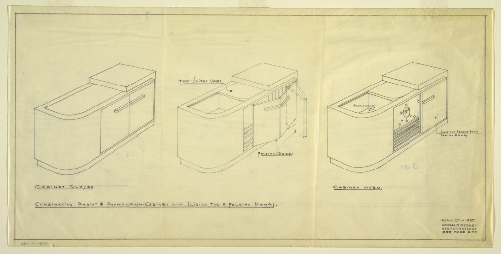 Three views of design for a radio-phonograph cabinet with sliding top and folding doors showing cabinet closed, opening, and fully opened. Rectilinear cabinet with curving edge and two folding doors with horizontal pulls that conceal phonograph.