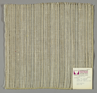 Plain and gauze weave in white, light brown and grey. Warp is comprised of white, light brown and grey yarns. Weft is comprised of fine white threads.