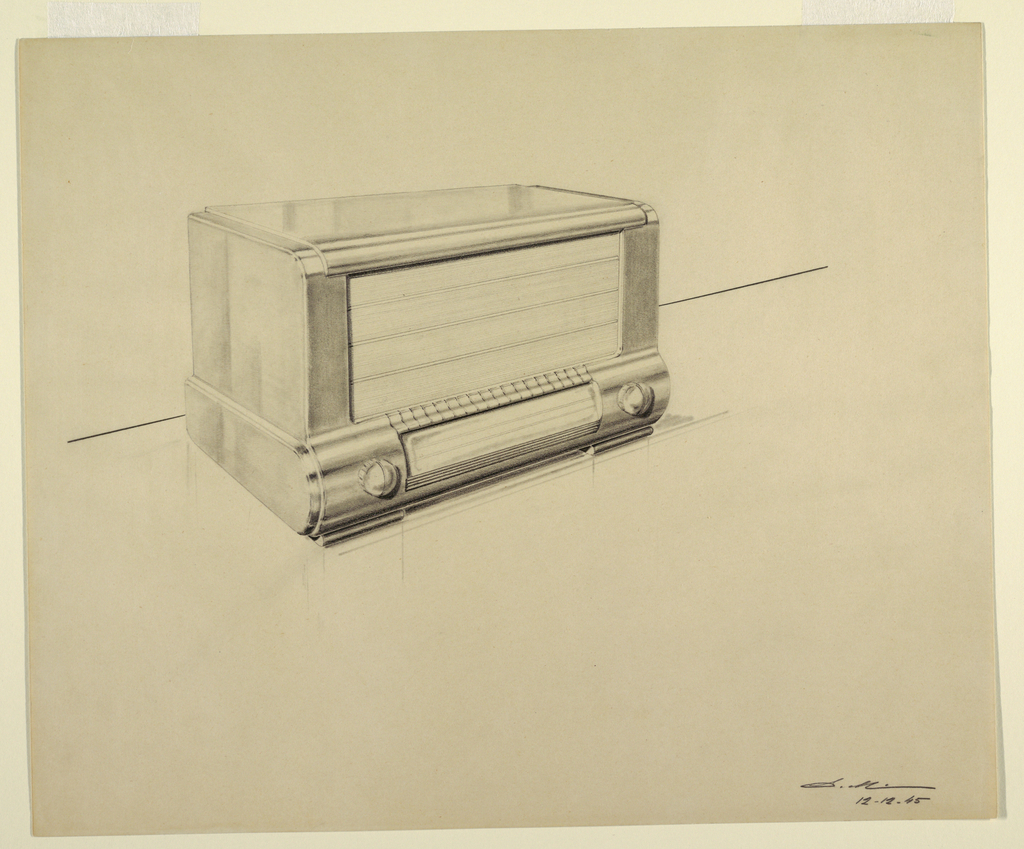 Design for a radio with a streamlined silhouette and two dials on the face, at the bottom.