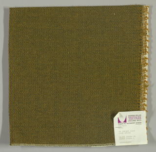 Coarse plain weave with an olive green warp and tan weft.