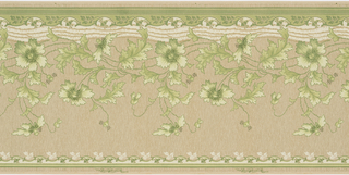 Scrolling wild flowers above waving green lines.  Rinceau running along green band on bottom.  Fleurons hanging from green band on top. Printed in green and white on texture simulated background.
