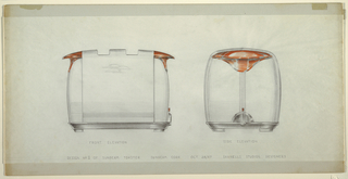 Design includes a frontal elevation on the left and a side elevation on the right of a toaster design for Sunbeam Corporation. The two toaster views are sketched in graphite, with small sections of orange added at the top. A few overlapping half-circles on the upper portion of the toaster can be seen on the frontal view, and a timer can be seen at the bottom of the side view.