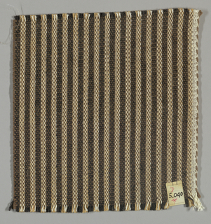 Vertically striped plain weave in black, brown, light brown and white. Warp threads are black, light brown and white. Weft threads are dark brown.