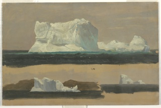 Seascape drawing depicting one large iceberg at top; two separate studies below at right and left. Water indicated as dark blue; the icebergs are outlined against brushed gray over an orange ground color. The unpainted edge is visible across lower edge.