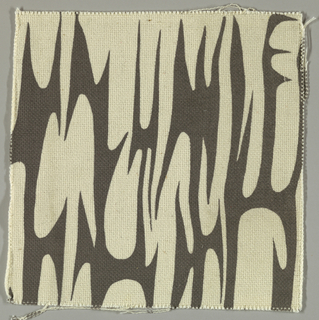 Cream plain weave printed with a dark grey abstract pattern.