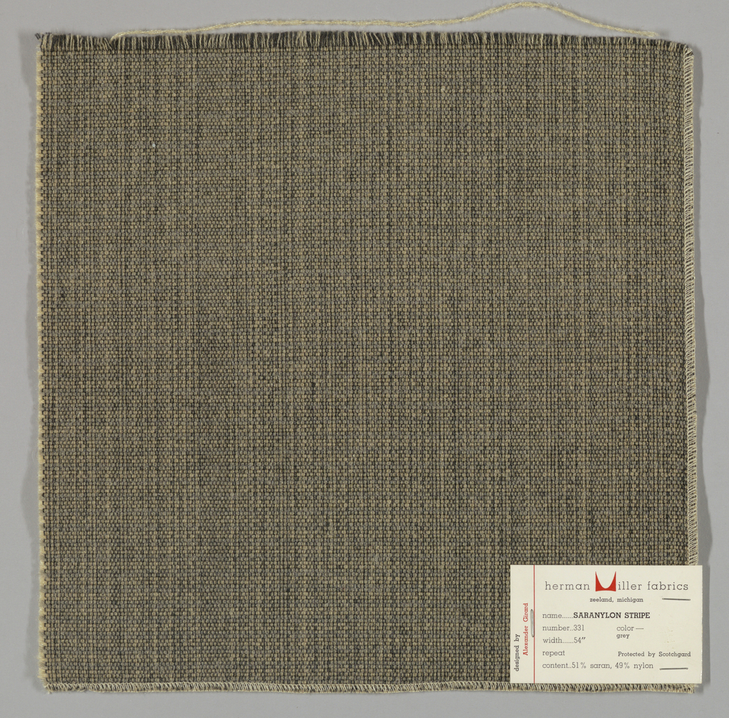 Plain weave with doubled warps and wefts in black, beige, grey and off-white. Warps are black and beige while the wefts are grey and off-white. Number 331.