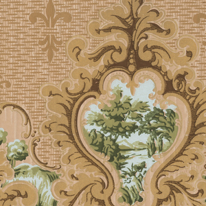 Landscape medallions printed on a textured background pattern containing fleur-de-lis. The companion sidewall is 1979-91-894.