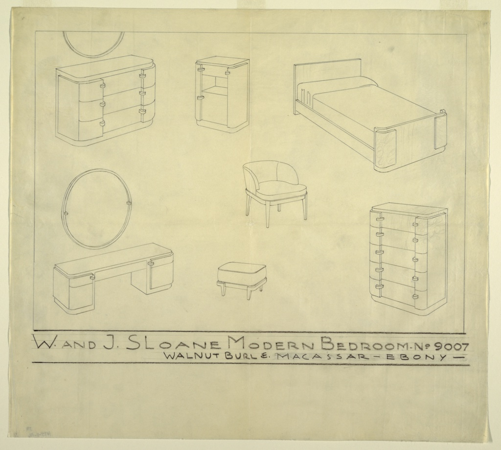 Drawing, Design for W. and J. Sloane Modern Bedroom No. 9007
