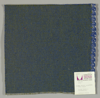Coarse plain weave with olive green warp and blue weft.
