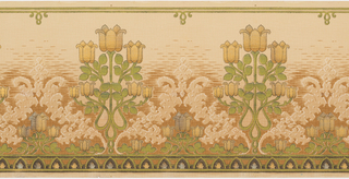 Stylized tulip medallions, band of pointed medallions along the bottom; printed in green, white, brown, metallic gold, and black on a tan background simulating a woven textile.