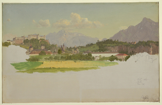 At top, the central part of the city shown from the north. Hoen-Salzburg rises in the left middle distance. The upper parts of the Cathedral, the Franciscan Church, and the Kollegrenkirche are shown in the left foreground, across meadows, trees and houses. The Convent of the Ursulines is shown near the right edge. The Moenchsberg is in the right background, the Untersberg in the central background.