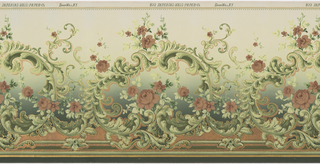 Red roses and foliate scrolls. The background shades from light to deep green. The bottom area is filled with a metallic copper pigment.