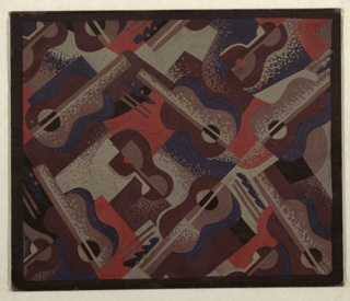 Design for carpet for Radio City Music Hall with all-over repeat pattern of cubist guitars and cocktail glasses. Stylized guitars and cocktail glasses with maraschino cherries play across geometric background in tones of terra cotta, navy, brown and tan. Objects placed on diagonal axis and punctuated by mottled dots throughout. Black border.