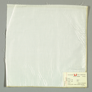 White plain weave, tightly woven.