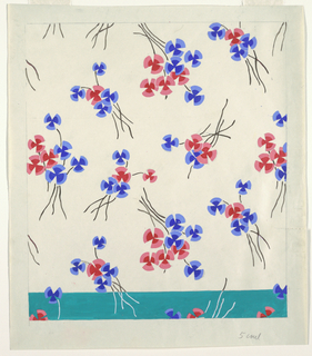 Loose bunches of red and blue flowers on a white ground. Three centimeters across lower edge ground is green (alternate colorway). Graphite lines border the image and light graphite lines outline the flowers.